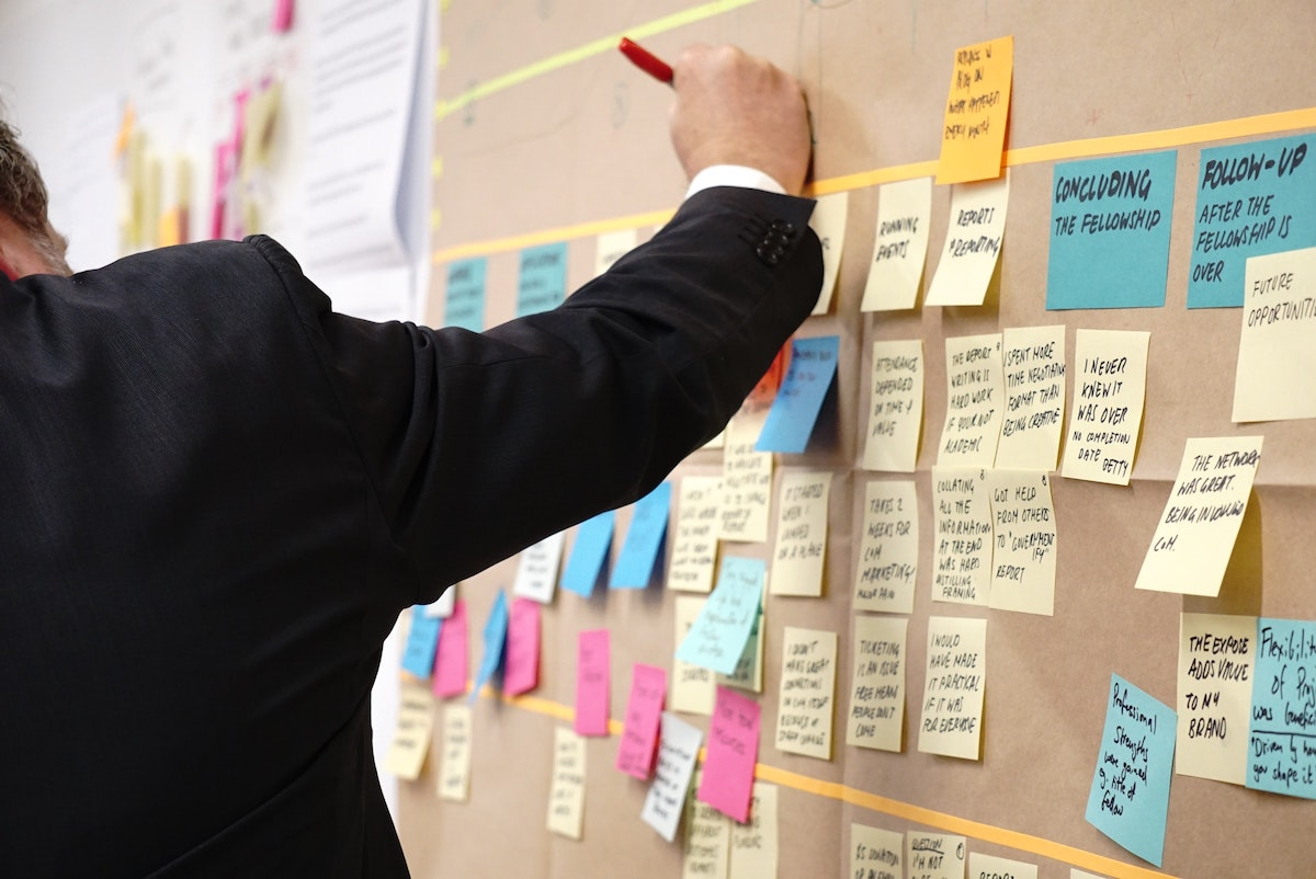 Board with post-it notes